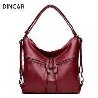 DINCAR Large Capacity Women Bag Fashion Three Zipper Shoulder Bag Designer Handbags High Quality Solid Hobos