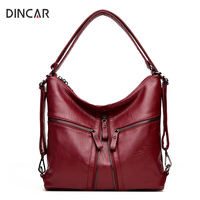 DINCAR Large Capacity Women Bag Fashion Three Zipper Shoulder Bag Designer Handbags High Quality Solid Hobos Casual Tote Bag Sac