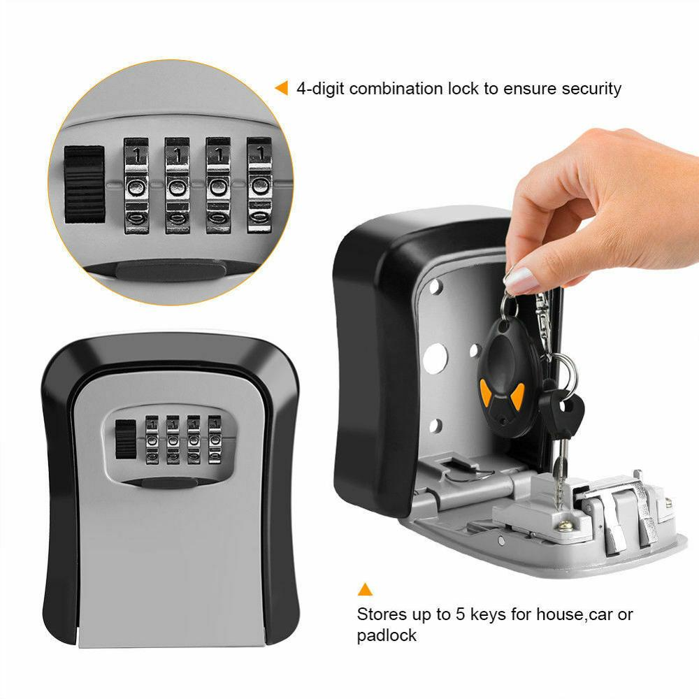 Mini 4 Digit Combination Key Lock Box Wall Mount Safe Security Storage Steel