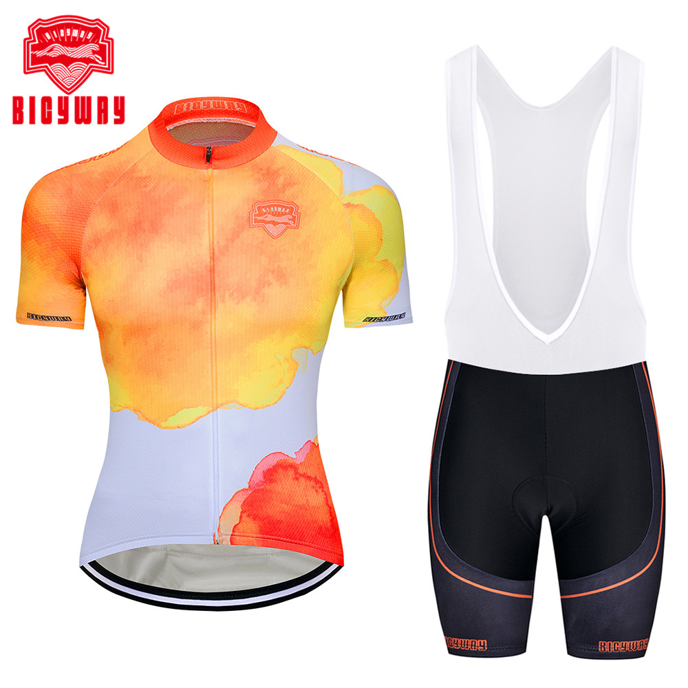 Bicyway Cycling Jersey Ropa Ciclismo Bicycle Cycling Clothing Mallot Ciclismo 100% Breathable cycling clothes Short Sleeve Suite