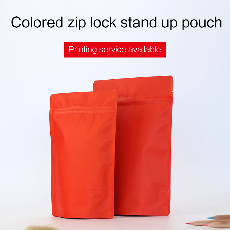 matte red stand up pouch with zipper aluminum foil zip lock bag tea coffee bean food packaging bags custom printing available