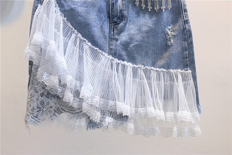 Lace mesh patchwork denim skirts women fashion Rhinestone blue plus size 2018 summer new arrivals-in Skirts from Women's Clothing    3