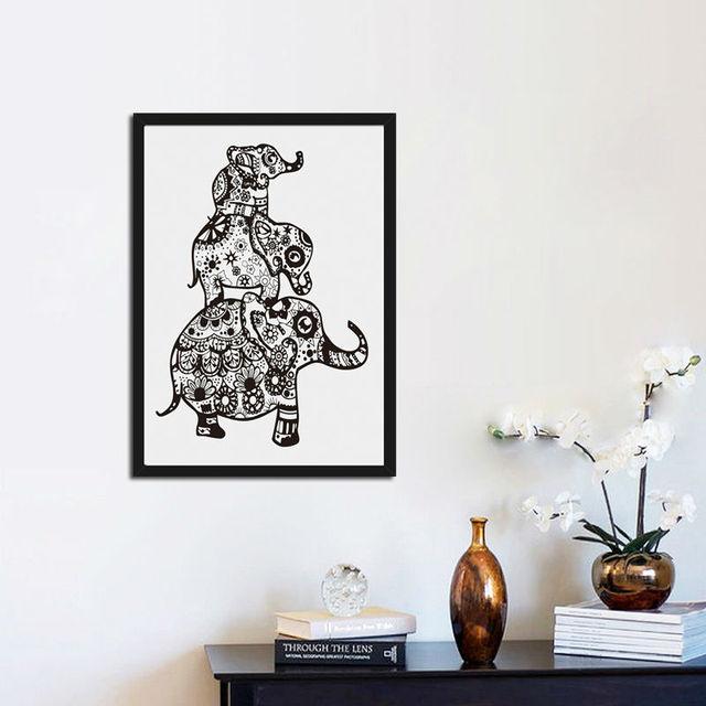 Indian Mandala Olifant Religon Canvas Schilderen En Poster Drie ...