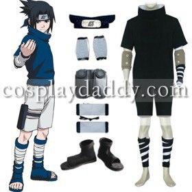 Naruto Sasuke Uchiha Black Cosplay Costume and Accessories Set di Pria Kostum dari Novelty ...