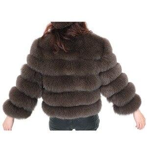 Image 3 - אמיתי שועל פרווה דשא נשים של מעיל חורף טבעי פרווה אופנה קצר silm מעיל יוקרה עור מעיל