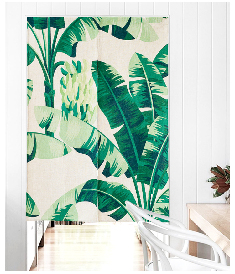 Style nord de l'europe tissu japonais feuille de banane porte fenêtre rideau décoration de la maison chambre salon étude cuisine café bar
