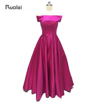 Real Photo Simple Evening Dresses Long Off The Shoulder A Line Satin Fuchsia Prom Dresses 2017