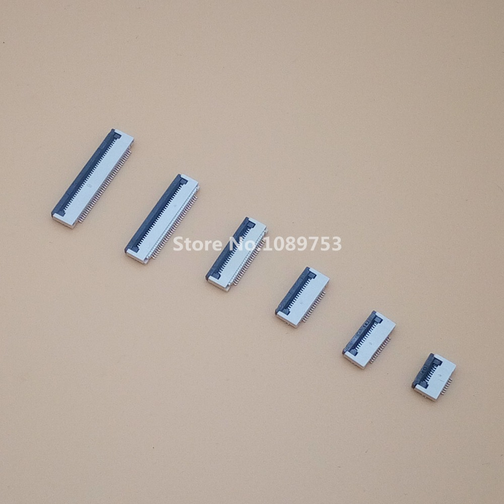 10pcs FFC FPC Connector 0.5mm 6/8/10/12/14/16//20/24/30/34/40/50 Pin Flip Type Ribbon Flat Connector Bottom Contact