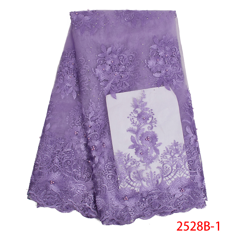 High Quality African Lace Fabric 2019 Embroidered Beaded Lace Fabric Nigerian French Tulle Laces For Women Dresses KS2528B-1