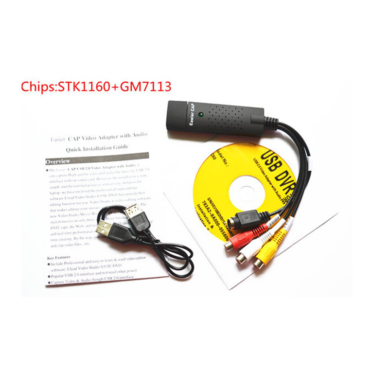 EasierCAP USB Audio Video Capture Card Cable Adapter to RCA with 1channel and 2 chips:STK1160+GM7113 for Computer PC Camera кабели межблочные аудио tchernov cable classic mk ii ic rca 1 65m