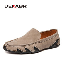 DEKABR Suede Leather Men Casual Shoes Breathable Soft Driving Shoes Men's Handmade Chaussure Homme Fashion Flat Loafers Men