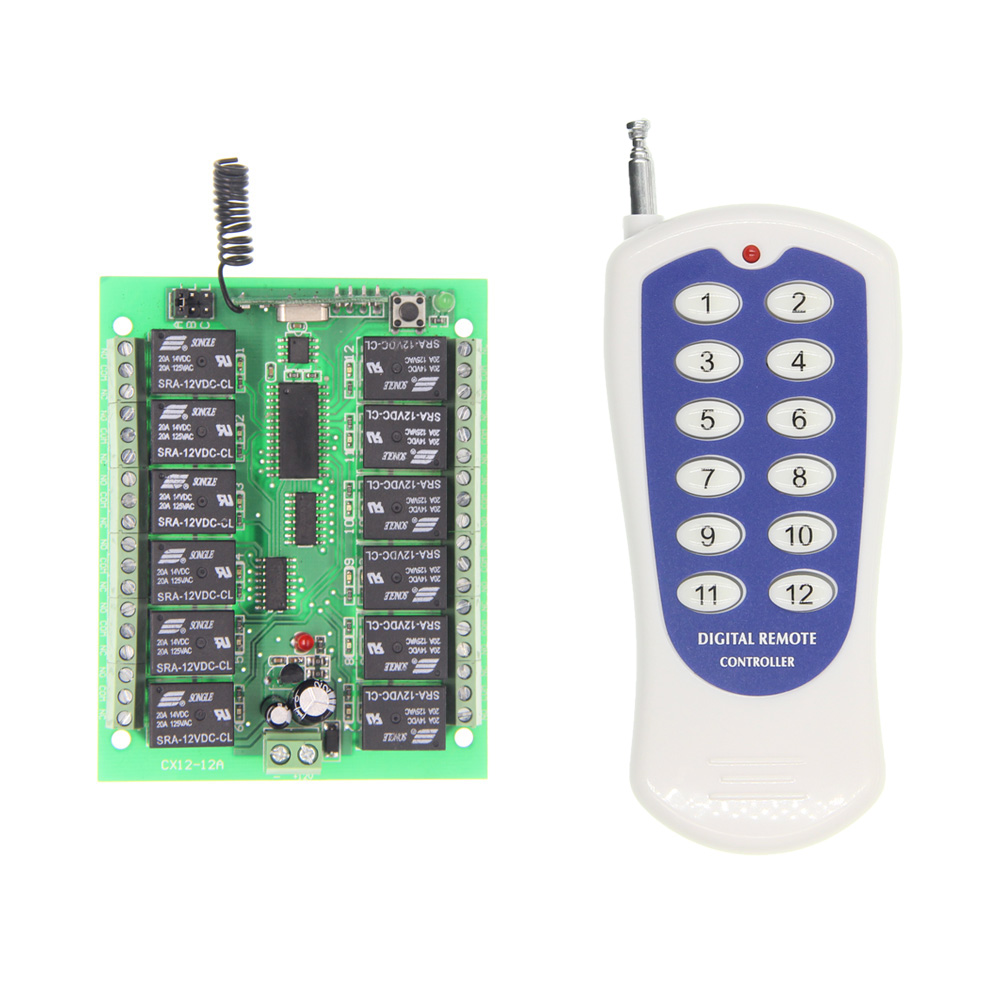все цены на DC 12V 24V 12 CH 12CH RF Wireless Remote Control Switch System,315/433 MHz Transmitter and Receiver онлайн
