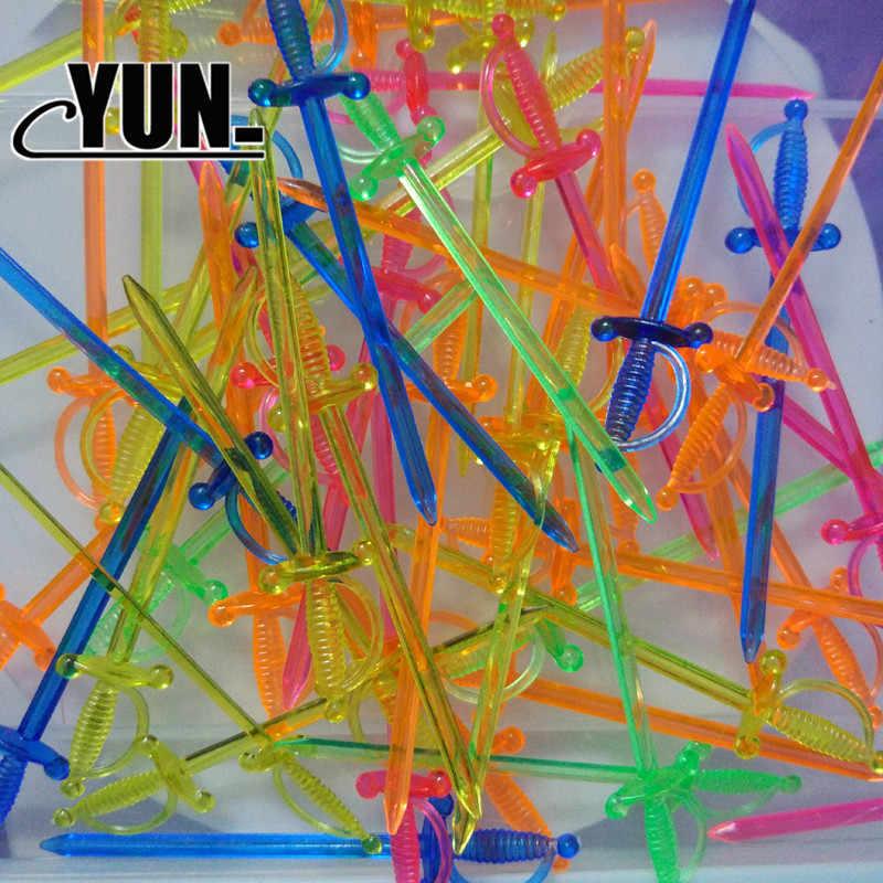 20x однотонный прозрачный пластиковый меч Рыцарь Меч пират День Рождения Вечеринка для детей игрушка украшение для тортов фруктовый салат 8D