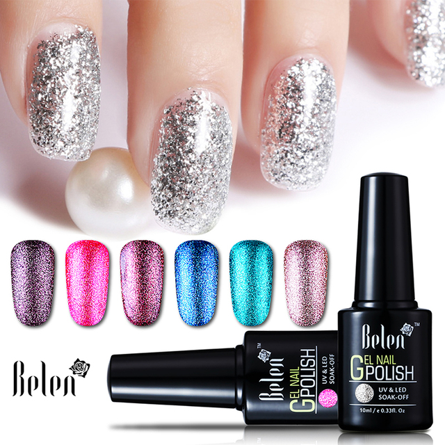 Belen Super Bling Platinum Gel Nail Polish Glitter Varnish 15 Colors Uv Led Long Lasting 10ml
