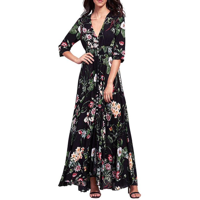 Trendzone 5/25 Sexy Women Long Bohemia Half Sleeve Floral Print Beach Party Casual Dress Free Shipping