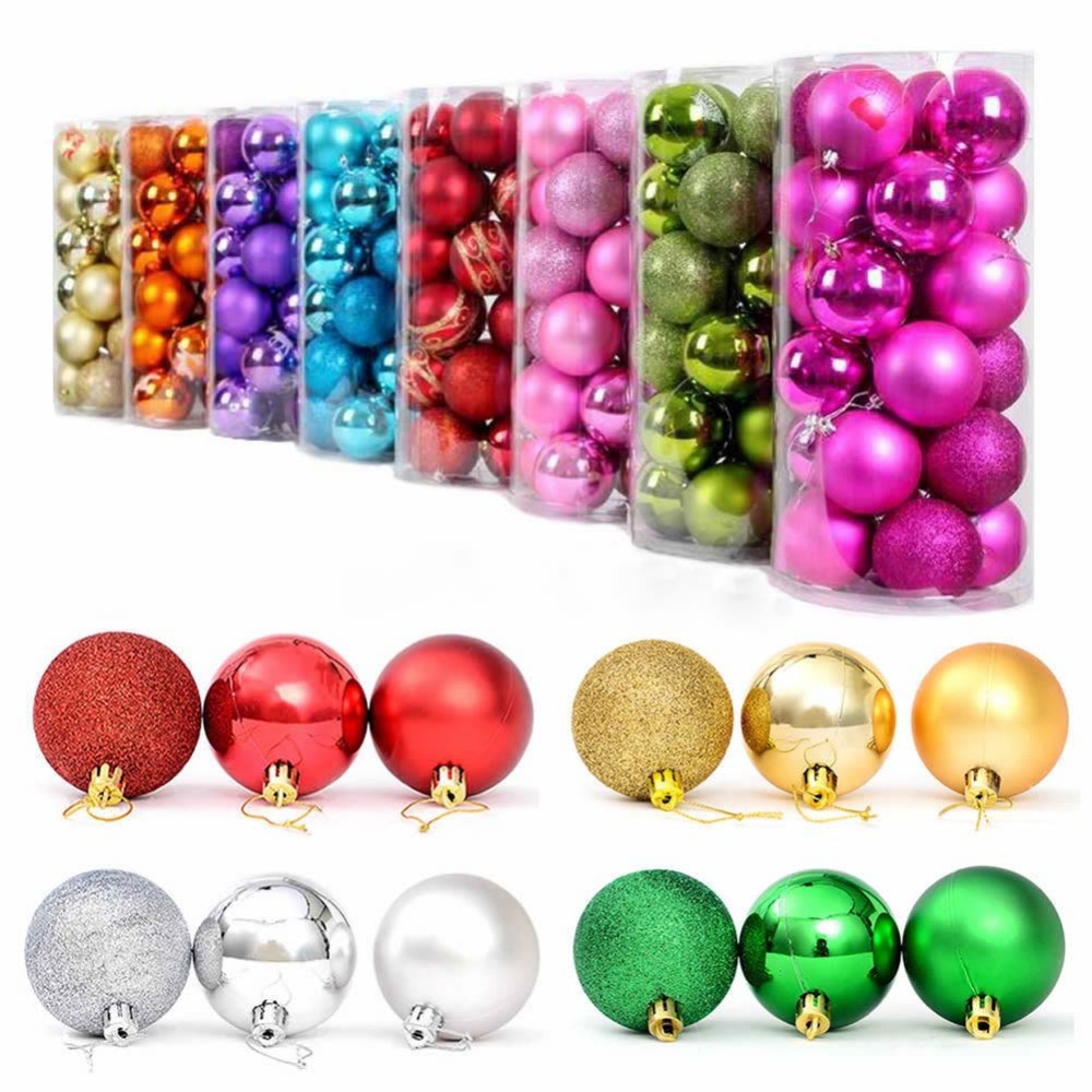 Colorful Christmas Balls.Us 3 1 31 Off 24pcs Set Christams Tree Decoration Balls 7 Colors Christmas Tree Hanging Decor Ornaments Xmas Ball Colorful Bright Dull Powder In