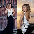 Long Black and White Mermaid Prom Dresses Sexy Backless Chiffon Lace Formal Evening Dress Graduation Party Dress Plus size 2016