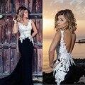 Preto e Branco longo Sereia Vestidos Sexy Backless Lace Chiffon Formal Vestido de Noite Da Festa de Formatura Vestido Plus Size 2016