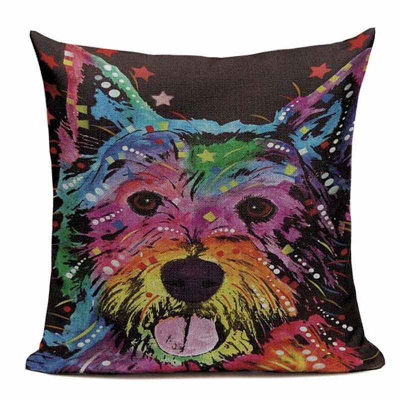 ผ้าลินินคุณภาพสูงบุคลิกภาพทางเลือก Originality pug หมอนสุนัข 45 ซม. x 45 ซม. ตกแต่งหมอนพิมพ์ฝาครอบ