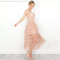 Sexy Lace Crochet Dress V Neck Women Evening Party Off Shoulder Summer Padded Dresses 2017 Hollow
