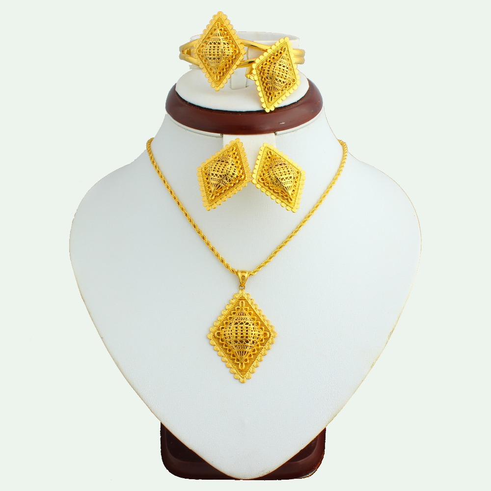 The New 2016 Ethiopian Jewelry Set Gold Plated Pendant Earrings Ring Bracelet Jewelry Sets For Women