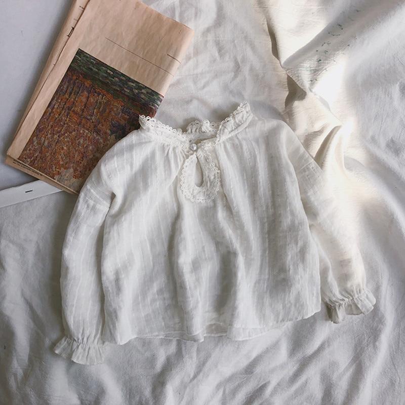 Beliebte Marke 2019 Frühling Baby Mädchen Süße Blusen Spitze Geraffte Kinder Weiß Shirts Rüschen Hülse Weiche Kurze Bodenbildung Tops Für Mädchen Kleidung GüNstige VerkäUfe