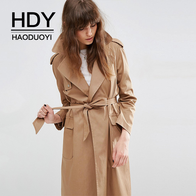 HDY Haoduoyi Autumn Fashion Women oversize Vintage Washed Outwears Loose Coat Slim Waist All-match Casual Femme   Trench   Coat