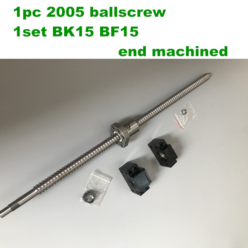RM/SFU2005 Ballscrew Kit L300 400 500 600 700mm end machined with nut & BK/BF15 Support for CNC router machineRM/SFU2005 Ballscrew Kit L300 400 500 600 700mm end machined with nut & BK/BF15 Support for CNC router machine