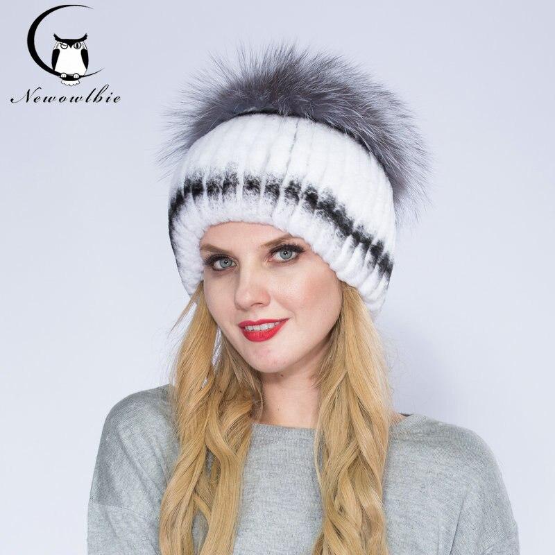 WNAORBM Natural Rex Rabbit Fur Sombreros Para Las Mujeres de Moda de piel de Zorro Rojo Corona Caliente de Lujo Últimas Alta calidad Del Sombrero Del Invierno
