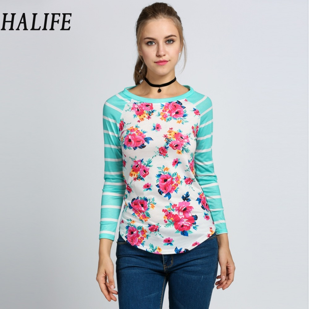halife tshirts cotton women floral tops striped raglan long sleeve autumn tee shirt femme plus