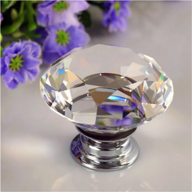 8pcs Portable Furniture Handle 30mm Diamond Crystal Glass Alloy Door Drawer Cabinet Wardrobe Pull Knobs Drop Worldwide Store Set