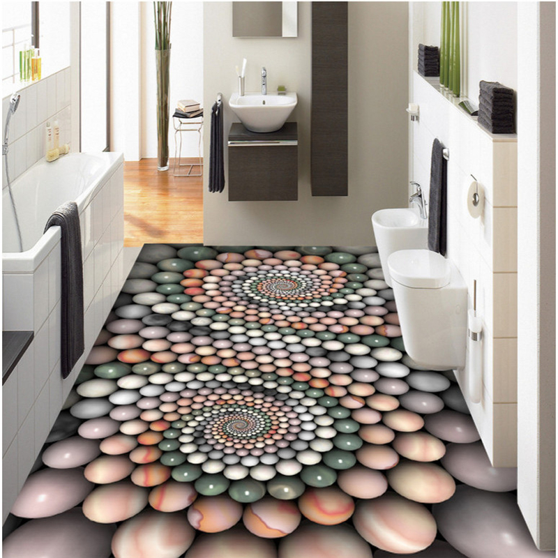 beibehang Customized non-woven decorative frescoes abstract three-dimensional jade beads bathroom 3D floor tiles three dimensional analysis of non planar coupled shear walls