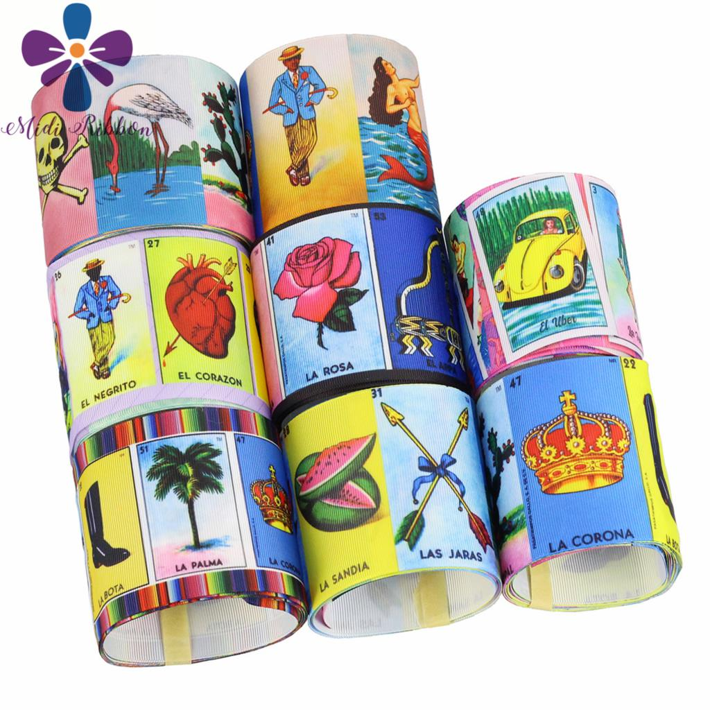 16mm-75mm Mexico Game Card Printed Grosgrain/Elastic Ribbon DIY Party Gift Decor Hair Band Making 50yards/roll