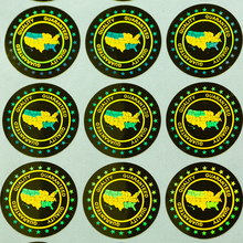 Anti fake 홀로그램 레이저 홀로그램 스티커 라벨 품질 보증 된 미국 보안 스티커 패키지 20x20mm 2000pcs