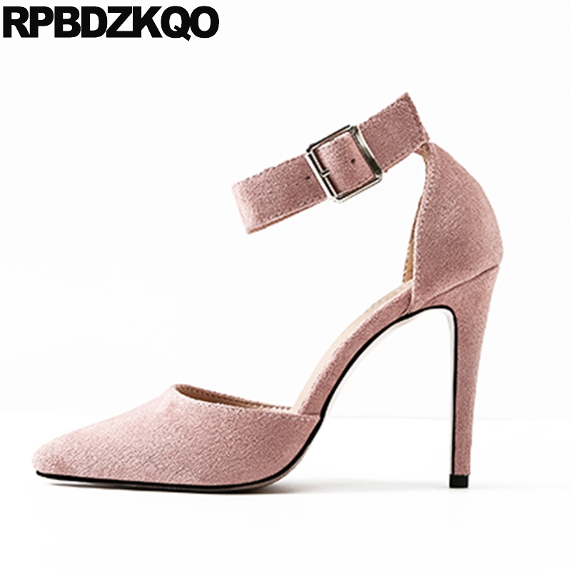 Thin Sexy Fashion Pointed Toe Summer Suede Ankle Strap Big Size High Heels Female Small 10 42 Elegant 33 Dress Pink 4 34 Shoes ladies western style sexy elegant ankle strap big size 4 to 15 soft suede genuine leather pointed toe shoes green white red