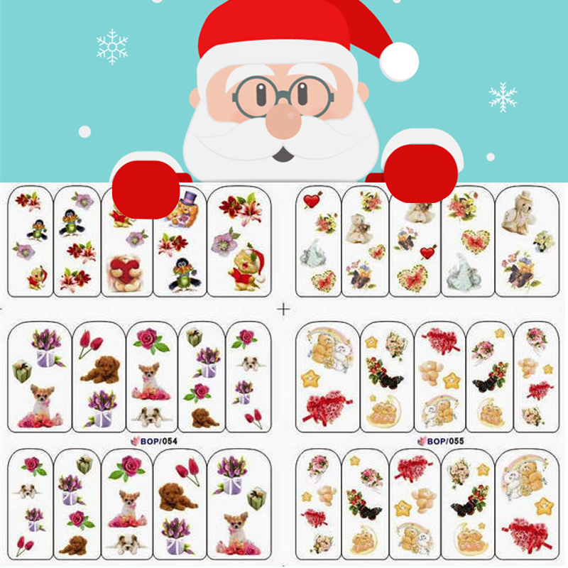 christmas nail watermark stickers watermark decals santa elk snow bell design nail decals in stickers decals from beauty health on aliexpresscom