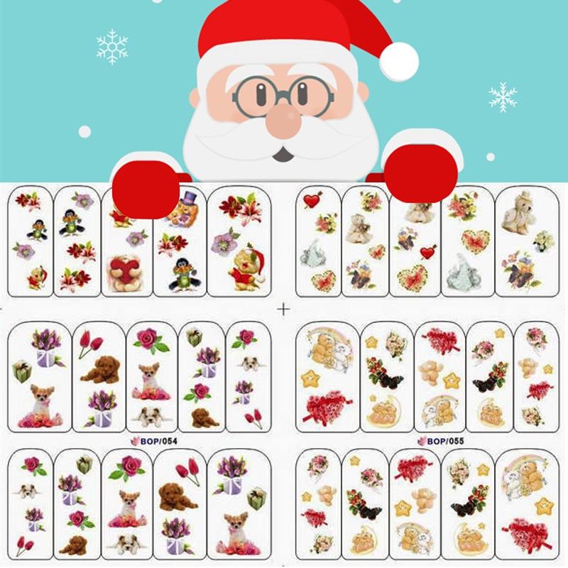 Christmas Nail Watermark Stickers Watermark Decals Santa Elk Snow - watermark christmas