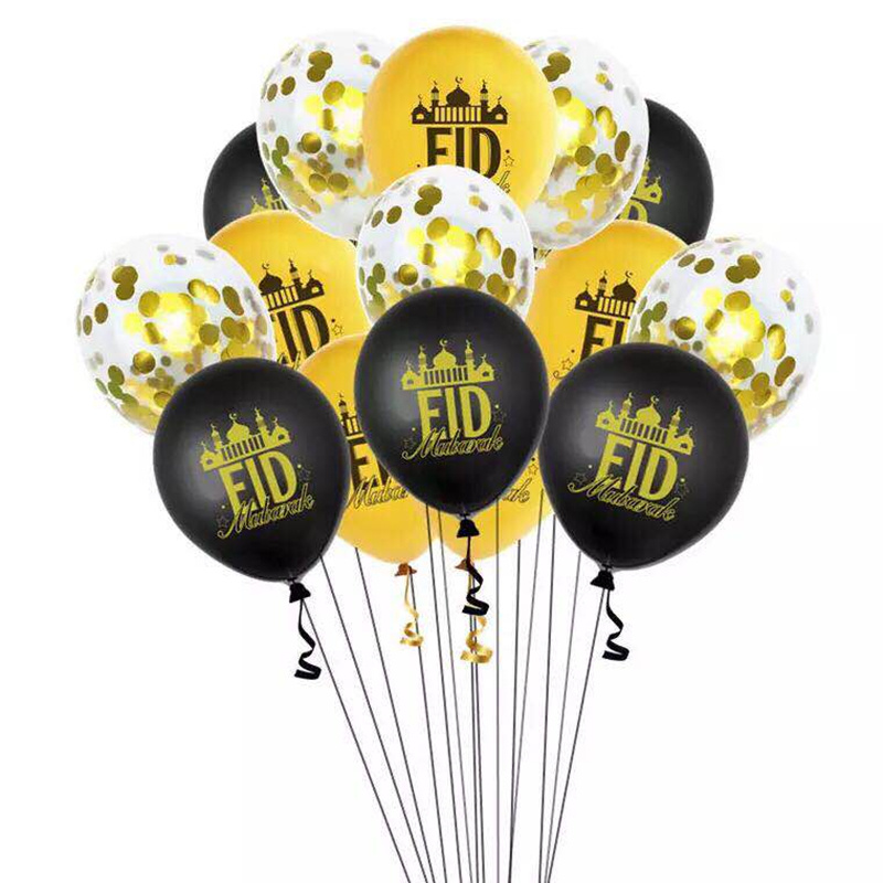 12inch Eid Mubarak Latex Balloons Eid Al-Fitr Decorations Lesser Bairam Air Balloon Moon Ramadan kareen Globos Eid Mubarak Decor