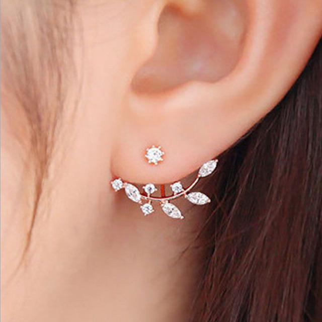 2019 Flower Crystals Stud Earring For Women Rose Gold Color Double Sided Fashion Jewelry Earrings Female Ear Brincos Pending