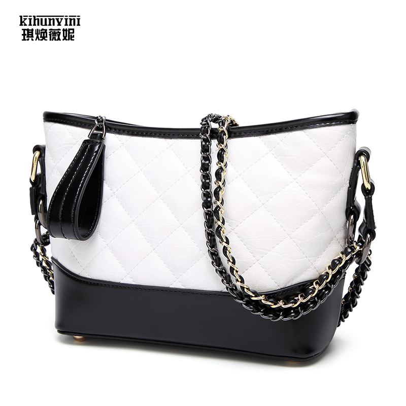 2018 Soft PU Leather Hobo Bags for Women Cross Body Shoulder Messenger Crossbody Bag Diamond Quilted Ladies Chain Sling Bag
