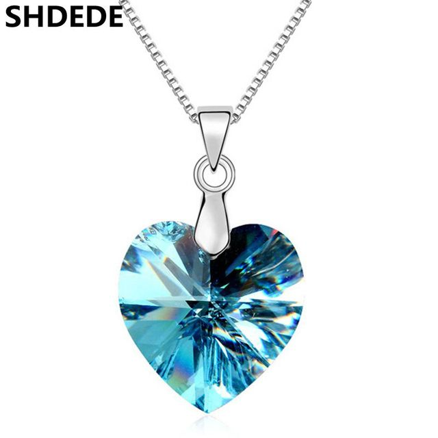 High Quality Fashion Necklace Pendant For Women Blue Heart Crystal from  Swarovski Elements Female Wedding Party Jewelry -10492 76079fb4a29a