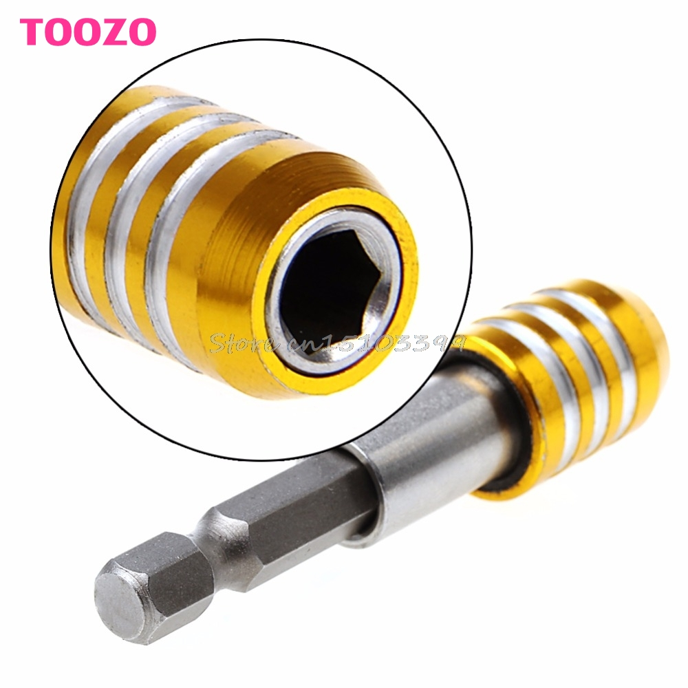 60mm 1/4 Magnetic Hex Shank Quick Release Drill Bit Screwdriver Screw Holder #G205M# Best Quality 1 4 magnetic hex shank drywall screw bit holder dimpler drilling screw tool 60mm electric drill screw adapter