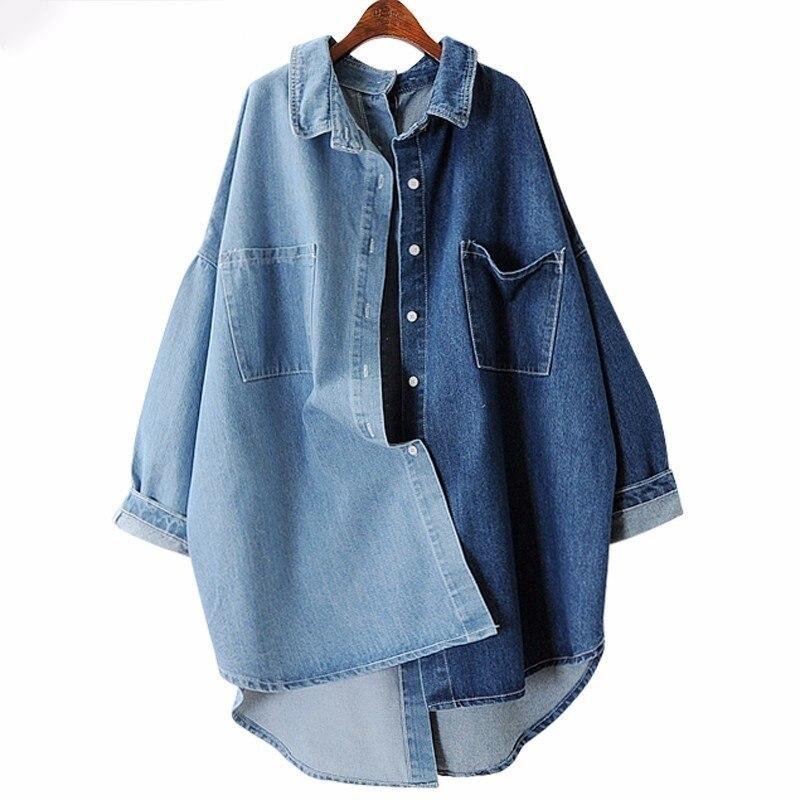 [EWQ] 2018 Spring Autumn New Korean Tide Blue Turn-down Collar Batwing Sleeve Single Breasted Cotton Lady Coat MA70505