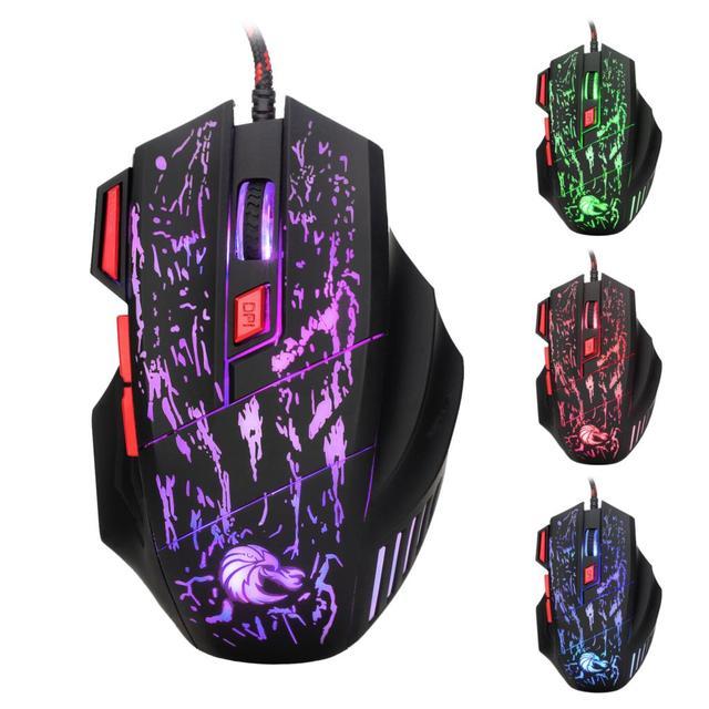 Rocketek usb optical wired gaming mouse 7 key 5500DPI Adjustable 7 color LED lights for Desktop computer/laptop/gamer/Home