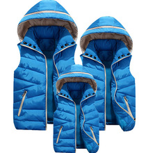 Removable Hoody Family Look Matching Mother Daughter Clothes Solid Vest With Hood Fashion Family Matching Outfit Winter Jacket