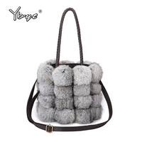 YBYT Brand 2018 New Fashion Women Fur Handbags Bucket Bag Ladies Evening Party Package Female Shoulder