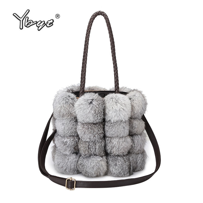 цена на YBYT brand 2018 new fashion women fur handbags Bucket bag ladies evening party package female shoulder messenger crossbody bags