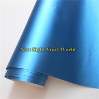 High Quality Matte Satin Chrome Aluminum Blue Vinyl Wrap Folie Bubble Free For Car Wrapping Size