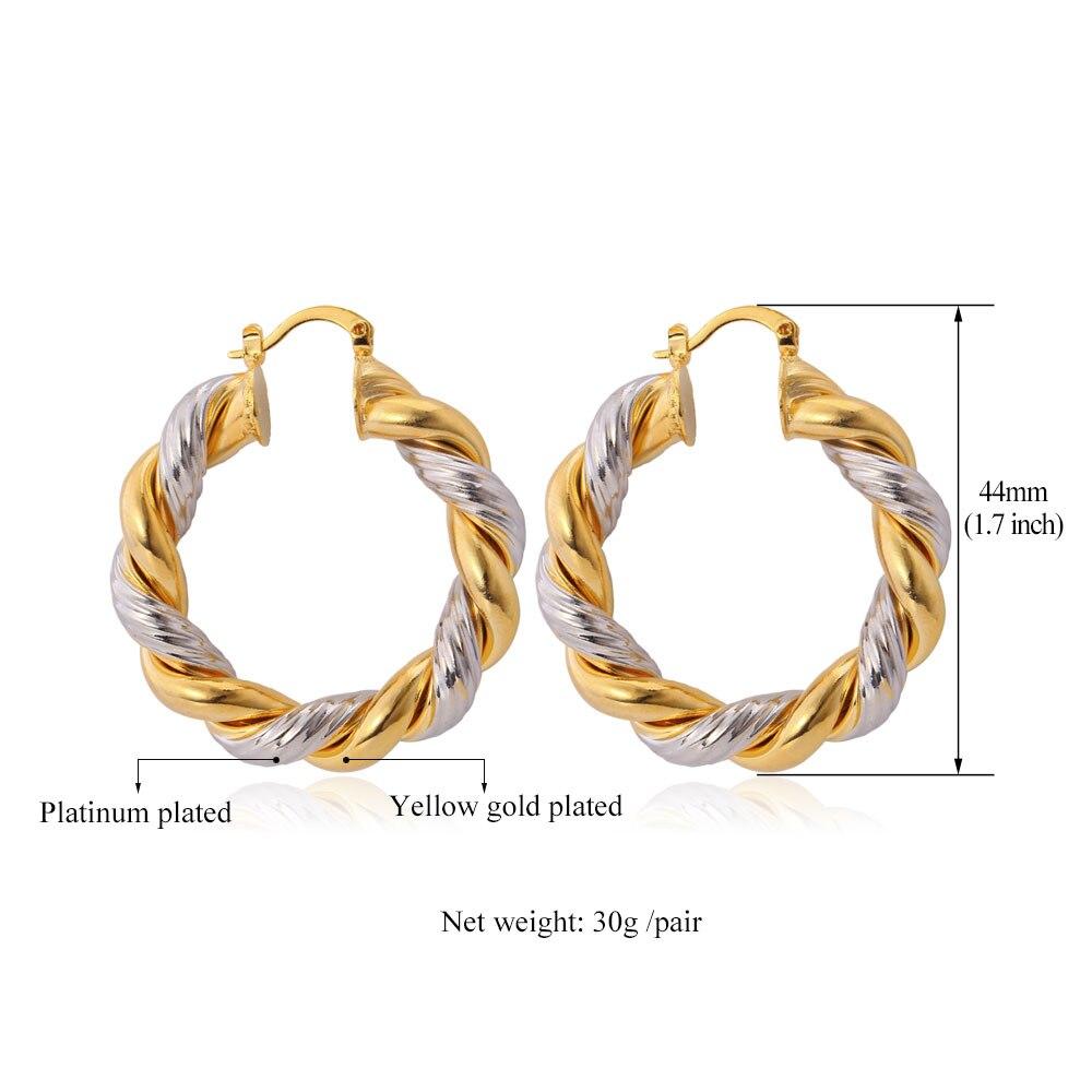 Twisted Hoop Earrings 925 Sterling Silver 44mm Choose Color