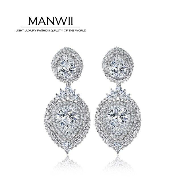Fashion Design Aaa Zircon Large Rhinestone Earrings For Women Silver Plated High End Earring Wedding
